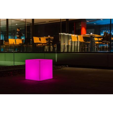 Vaza Ghiveci Frapiera CUBY S natur cu sistem de iluminare RGB