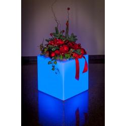 Vaza Ghiveci Frapiera CUBY V natur cu sistem de iluminare RGB